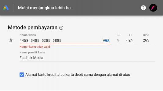 membuat metode pembayaran google ads