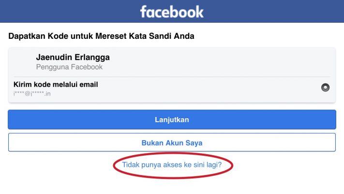 Hack lupa kata sandi facebook