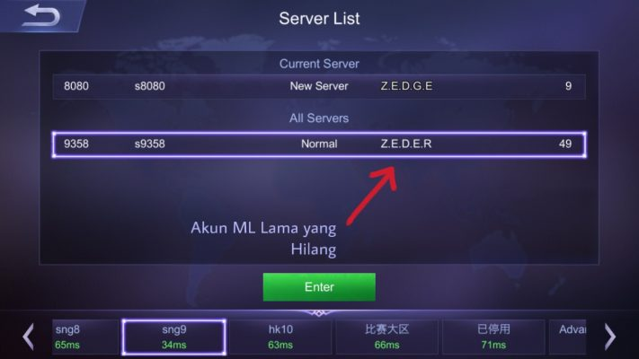 Server TP akun mobile legends