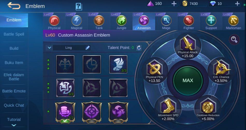 Custom Emblem dan Spell hero Ling