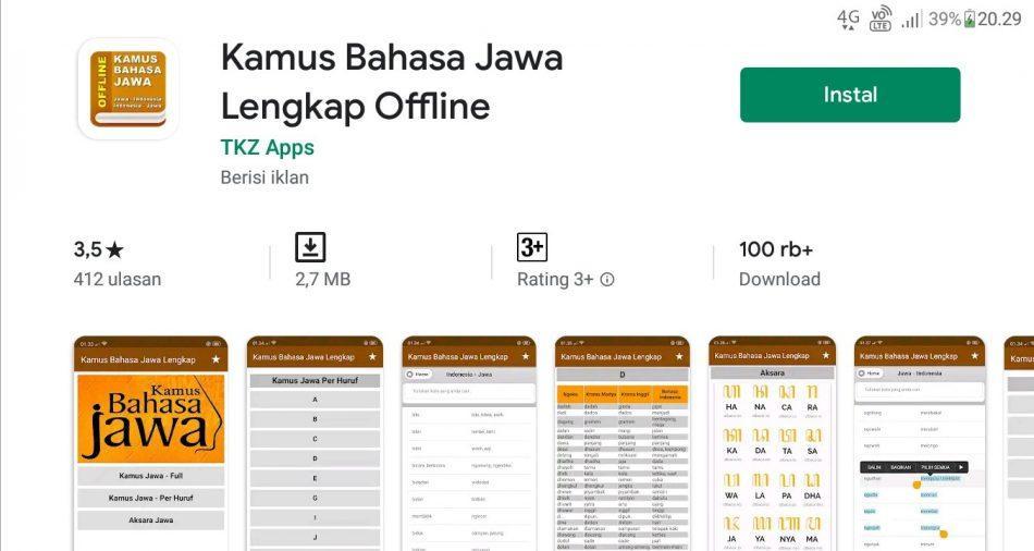 Aplikasi bahasa jawa offline di android