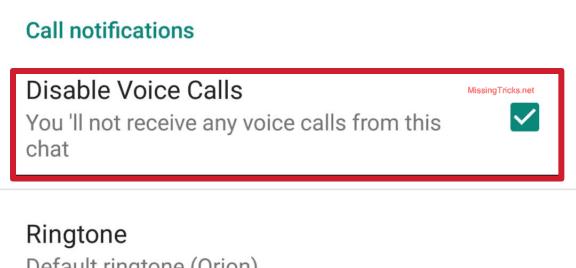 Disable panggilan GB Whatsapp