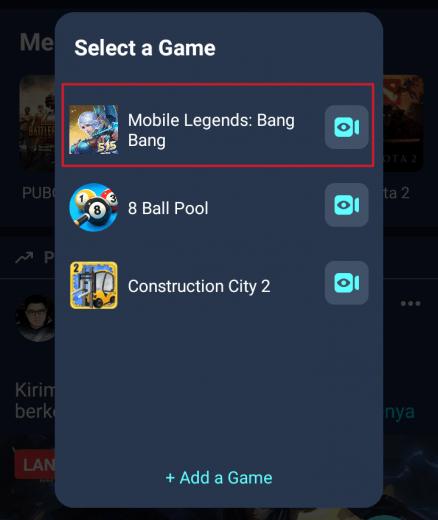 memilih game live stream