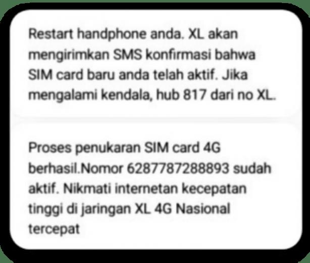 sms upgrade 4G XL berhasil